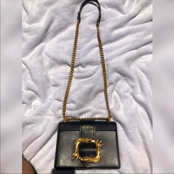 756cd68ef643 Authentic Prada Women s Cahier Leather Bag Black. M 5b7f73c09e6b5b801eaaad8f